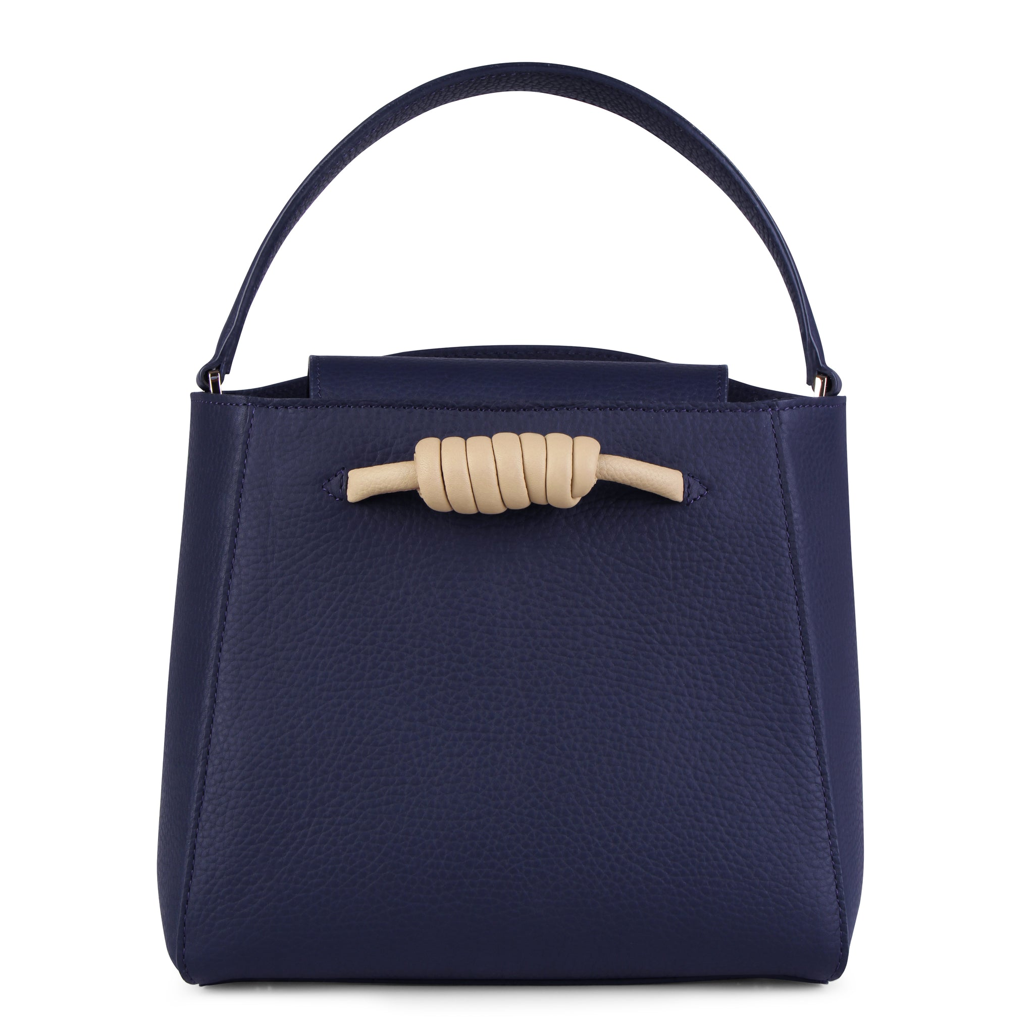 A medium size navy convertible leather top handle tote bag with a knot detail in front that could be used as a handheld mini tote bag, front image.