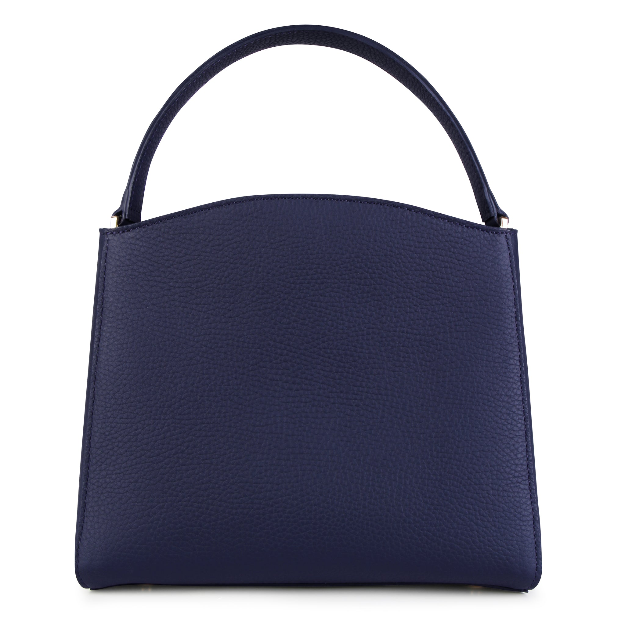 A medium size navy convertible leather top handle tote bag with a knot detail in front that could be used as a handheld mini tote bag, back image.