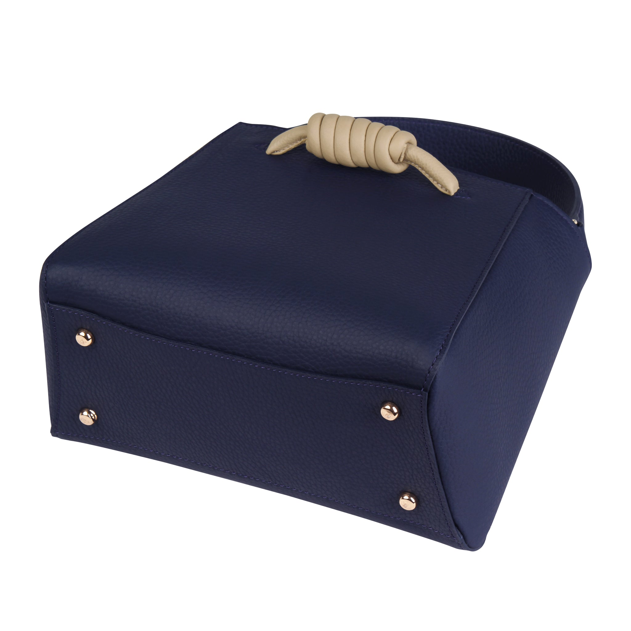 A medium size navy convertible leather top handle tote bag with a knot detail in front that could be used as a handheld mini tote bag, base image.