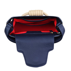 A medium size navy convertible leather top handle tote bag, red interior image.