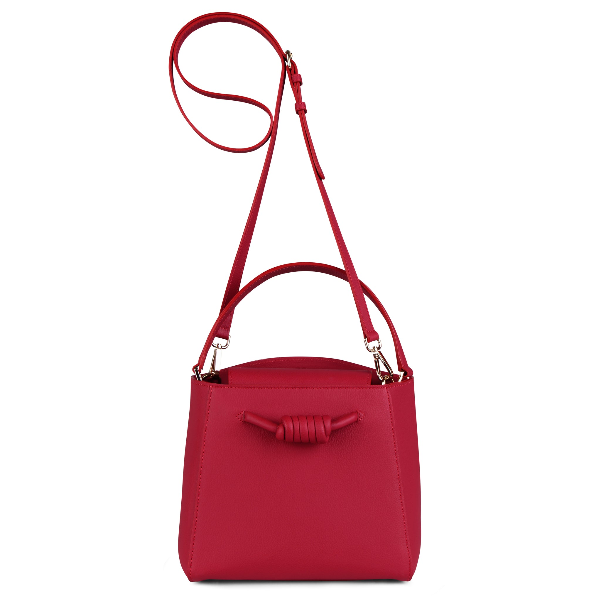 A medium size red convertible leather top handle tote bag with a knot detail in front that could be used as a handheld mini tote bag, front image.