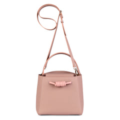 A medium size pink convertible leather top handle tote bag with a knot detail in front that could be used as a handheld mini tote bag, front image.