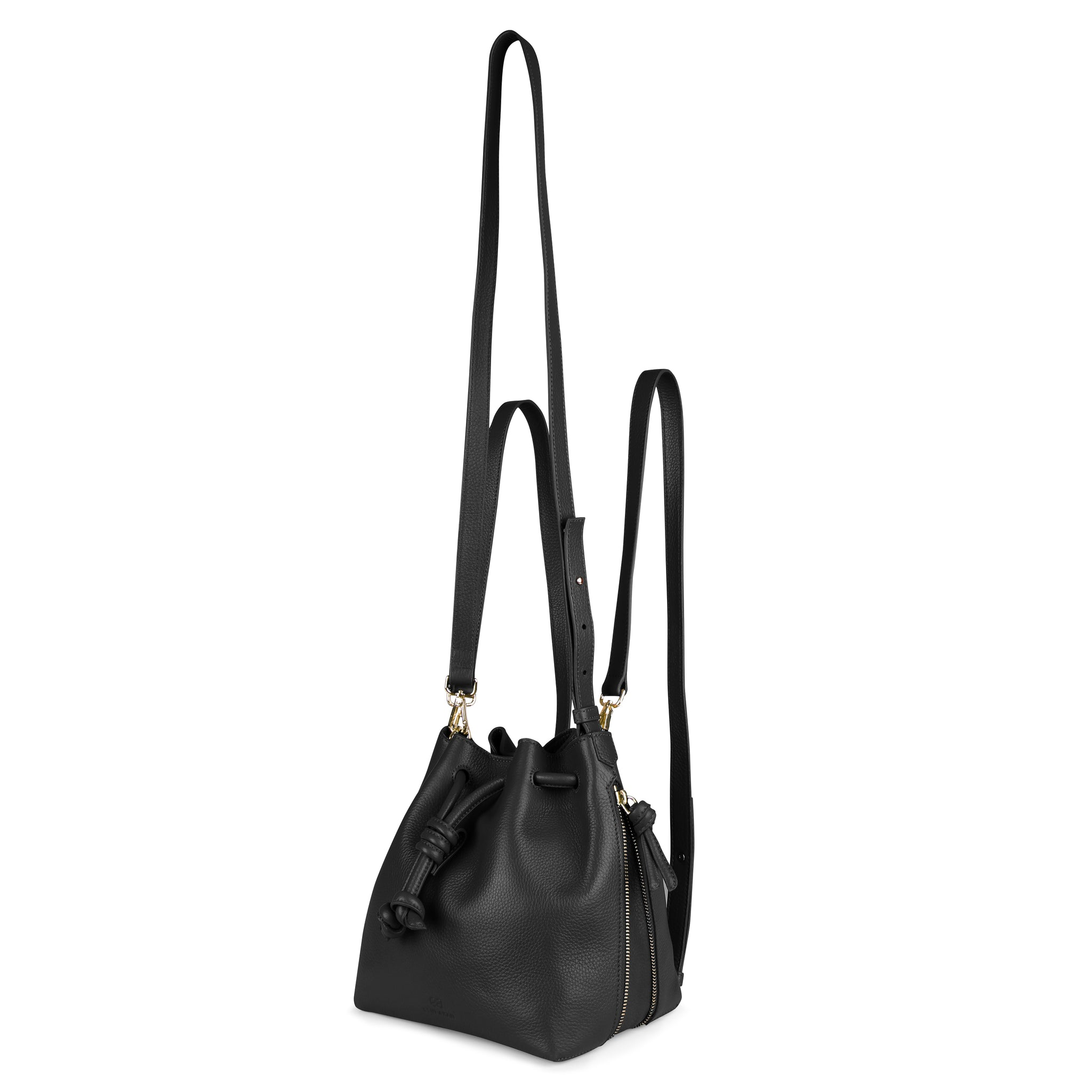 A convertible medium leather black bucket bag that could be used as a backpack, front image.