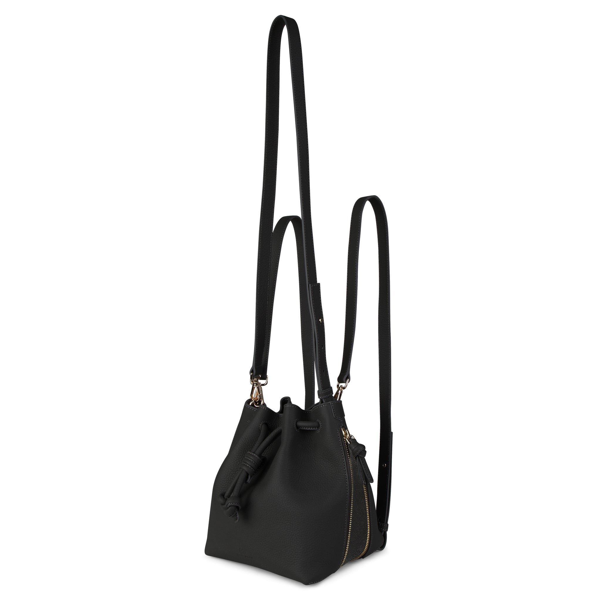 A convertible medium leather black and sparkly black bucket crossbody bag that could be used as a backpack, front image.