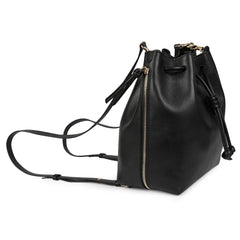A convertible medium leather black and sparkly black bucket crossbody bag that could be used as a backpack, side image.