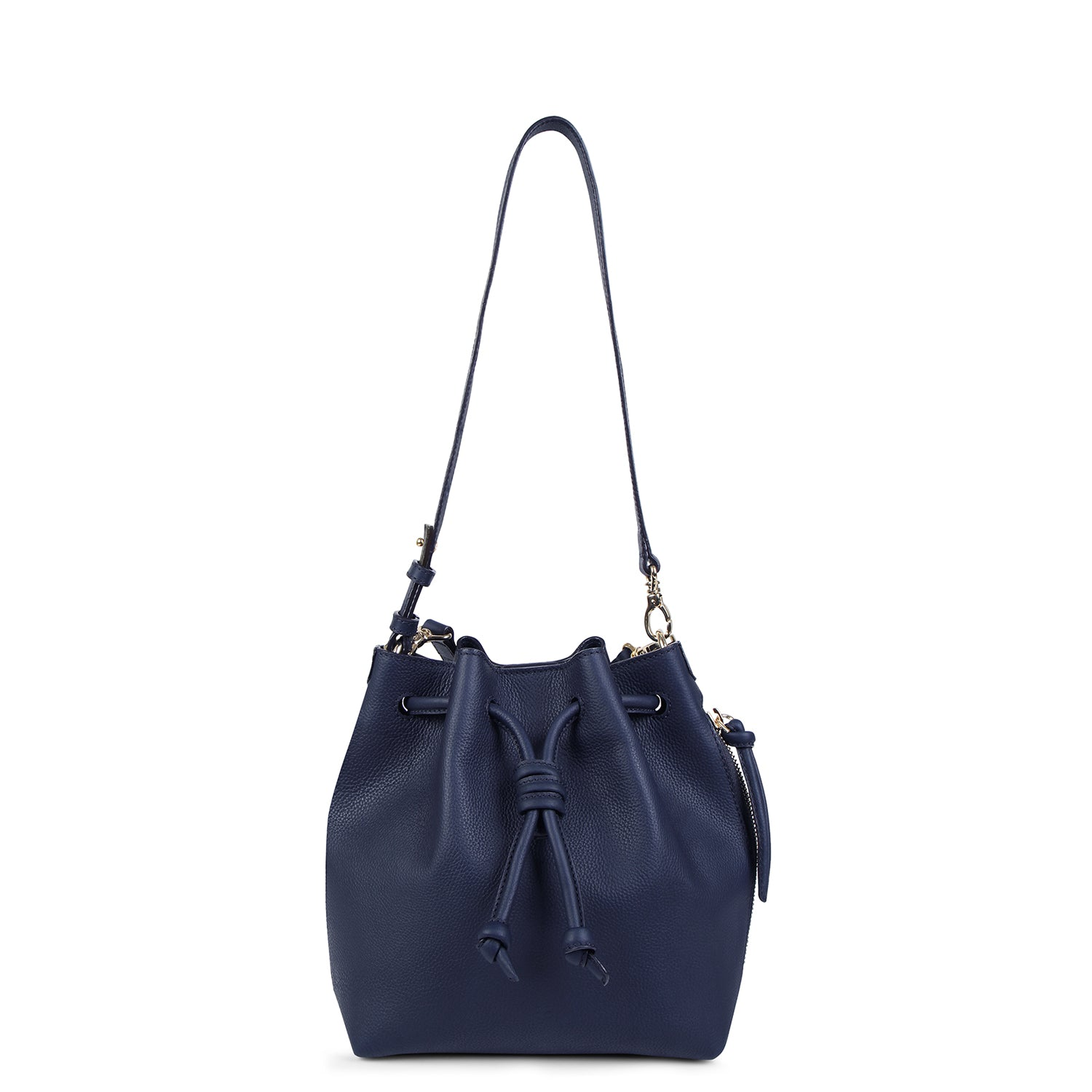 A convertible medium leather bucket crossbody bag in sparkly navy that could be used as a backpack, front image.