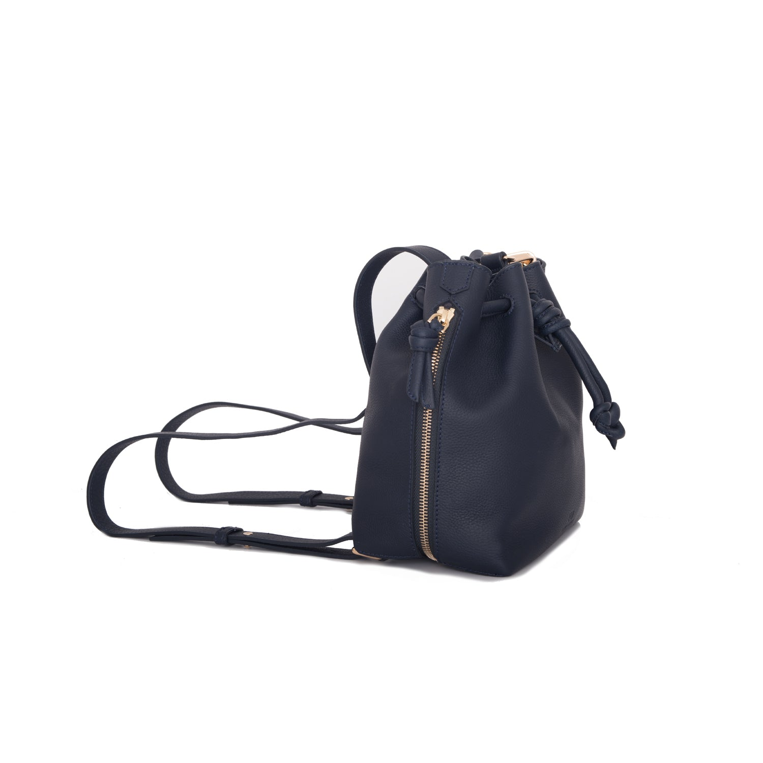 A convertible medium leather bucket crossbody bag in sparkly navy that could be used as a backpack, side image.