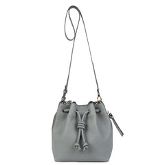 A convertible medium leather bucket crossbody bag in grey and blue that could be used as a backpack, front image.