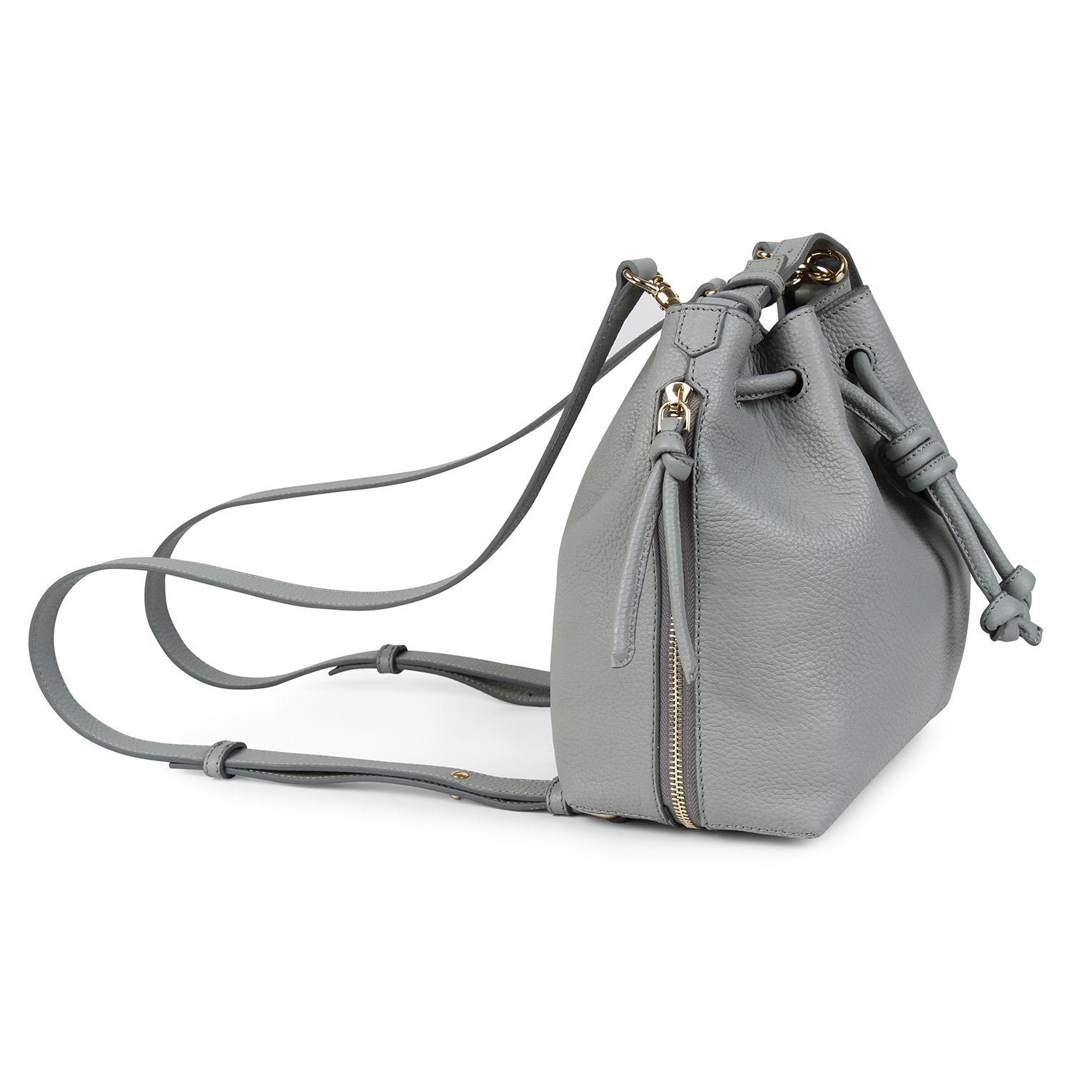 A convertible medium leather bucket crossbody bag in grey and blue that could be used as a backpack, side image.