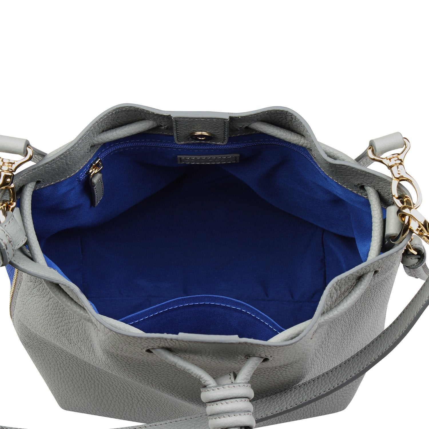 A convertible medium leather bucket crossbody bag in grey and blue, blue interior front image.