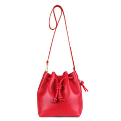 A convertible medium leather bucket crossbody bag in red that could be used as a backpack, front image.