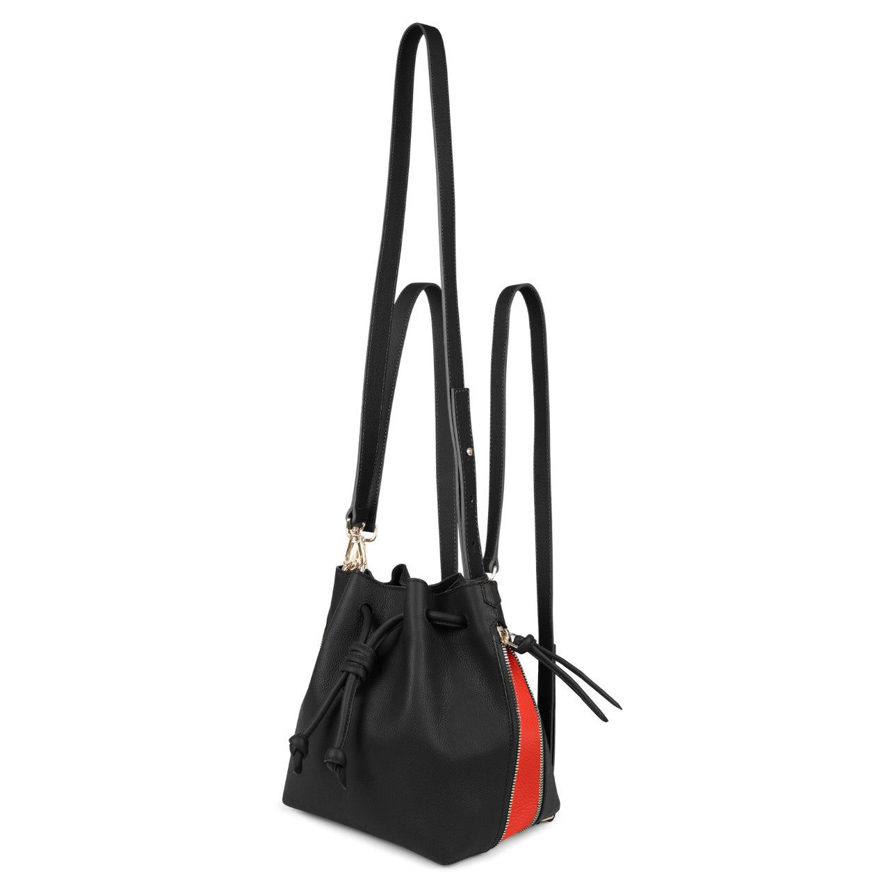 A convertible medium leather red and black bucket crossbody bag that could be used as a backpack, front image.