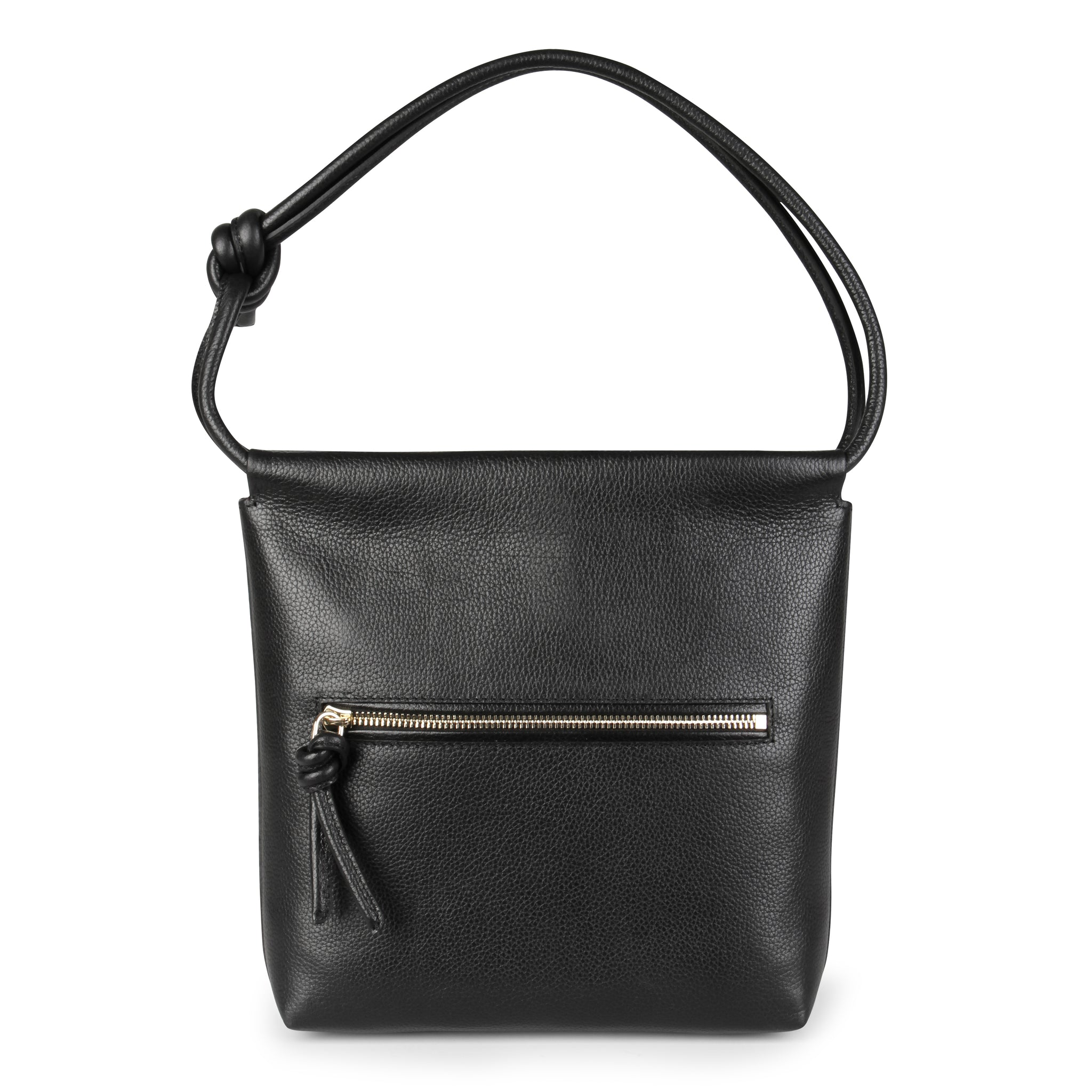 A convertible leather small black shoulder bag with a knot detail on the strap that could be used as a clutch with its roll down feature, back image.