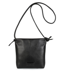 A convertible leather small black shoulder bag with a knot detail on the strap that could be used as a clutch with its roll down feature, front image.