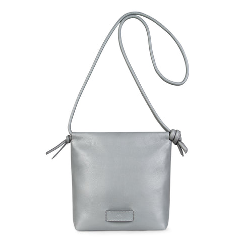 A light grey convertible leather small shoulder bag with a knot detail on the strap that could be used as a clutch with its roll down feature, front image.