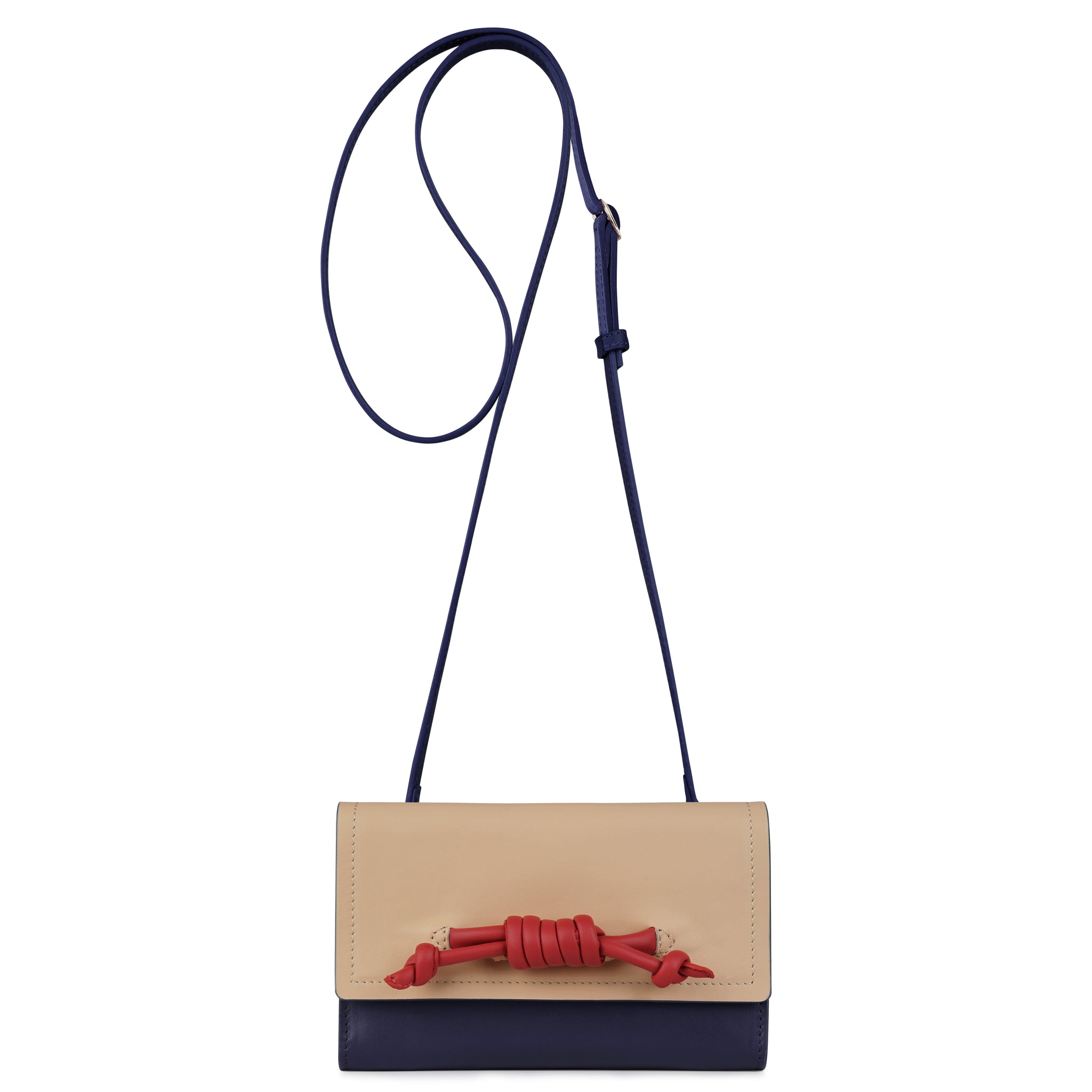 A convertible leather navy, nude and red phone wallet with a knot detail in front shown as a crossbody bag, front image.