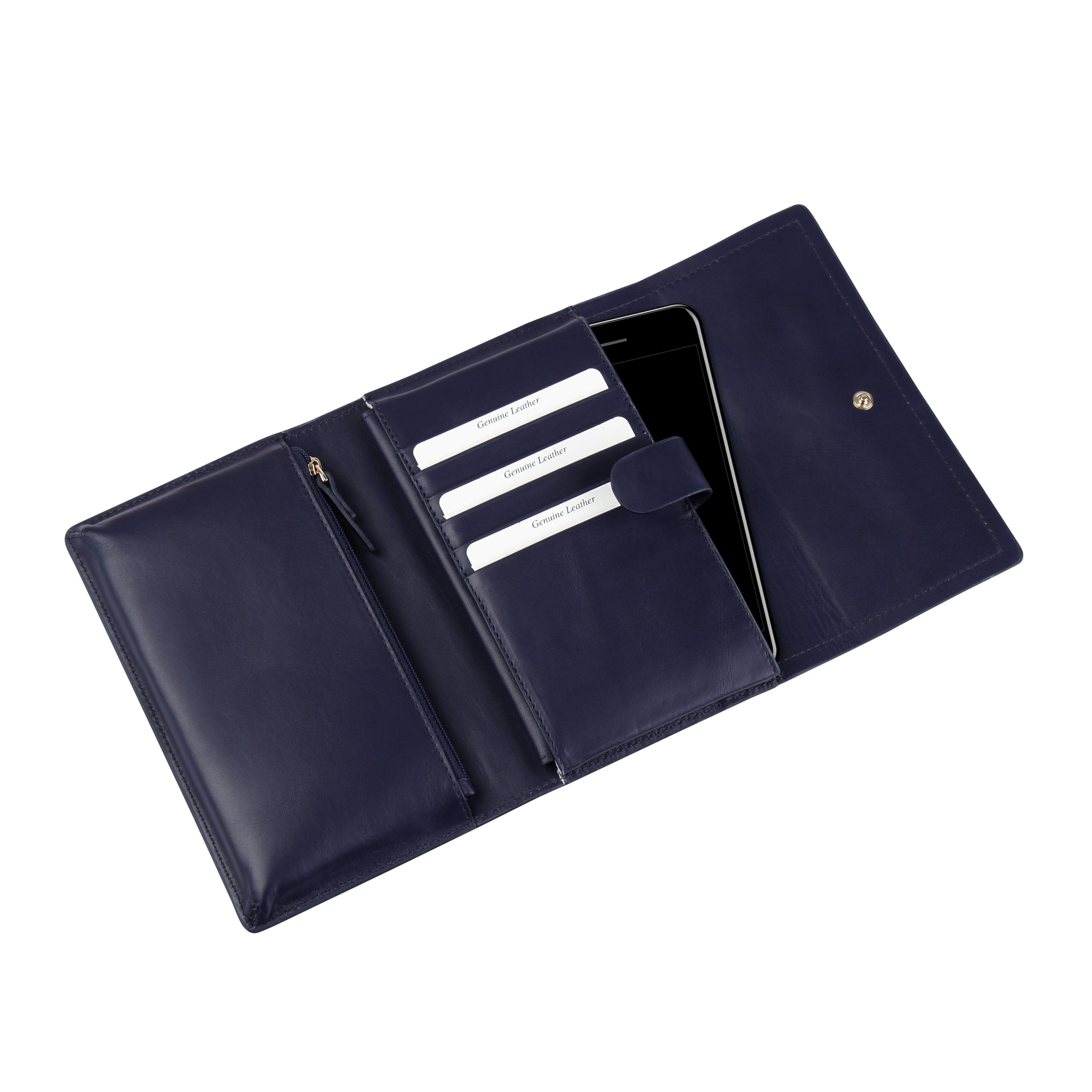 A convertible leather navy, nude and red phone wallet with a knot detail in front that could be used as a crossbody bag, interior image.