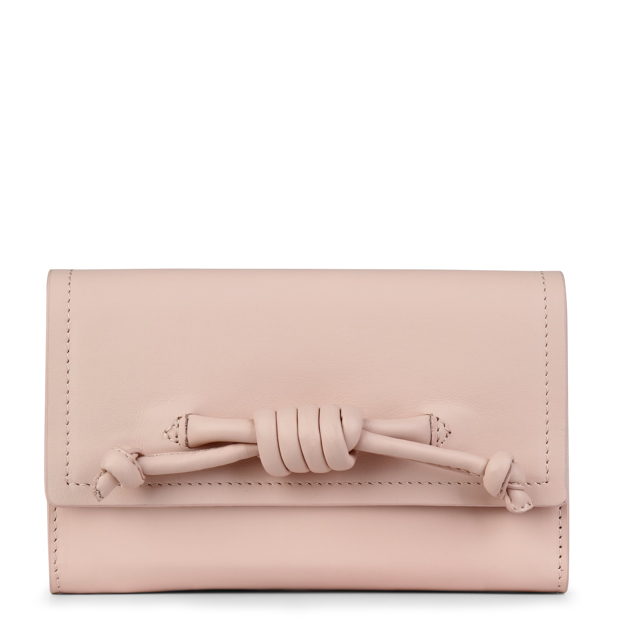 A convertible leather pink phone wallet with a knot detail in front that could be used as a crossbody bag, front image.