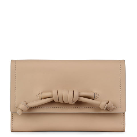 A convertible leather nude phone wallet with a knot detail in front that could be used as a crossbody bag, front image.