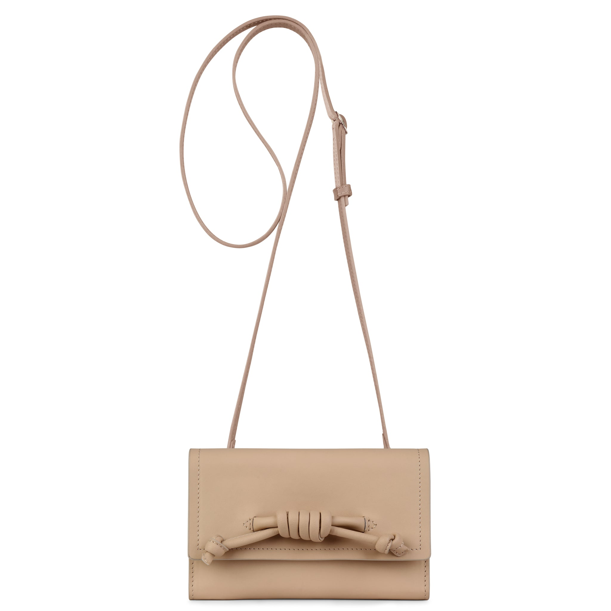 A convertible leather nude phone wallet with a knot detail in front that could be used as a crossbody bag, shown as a crossbody, front image.