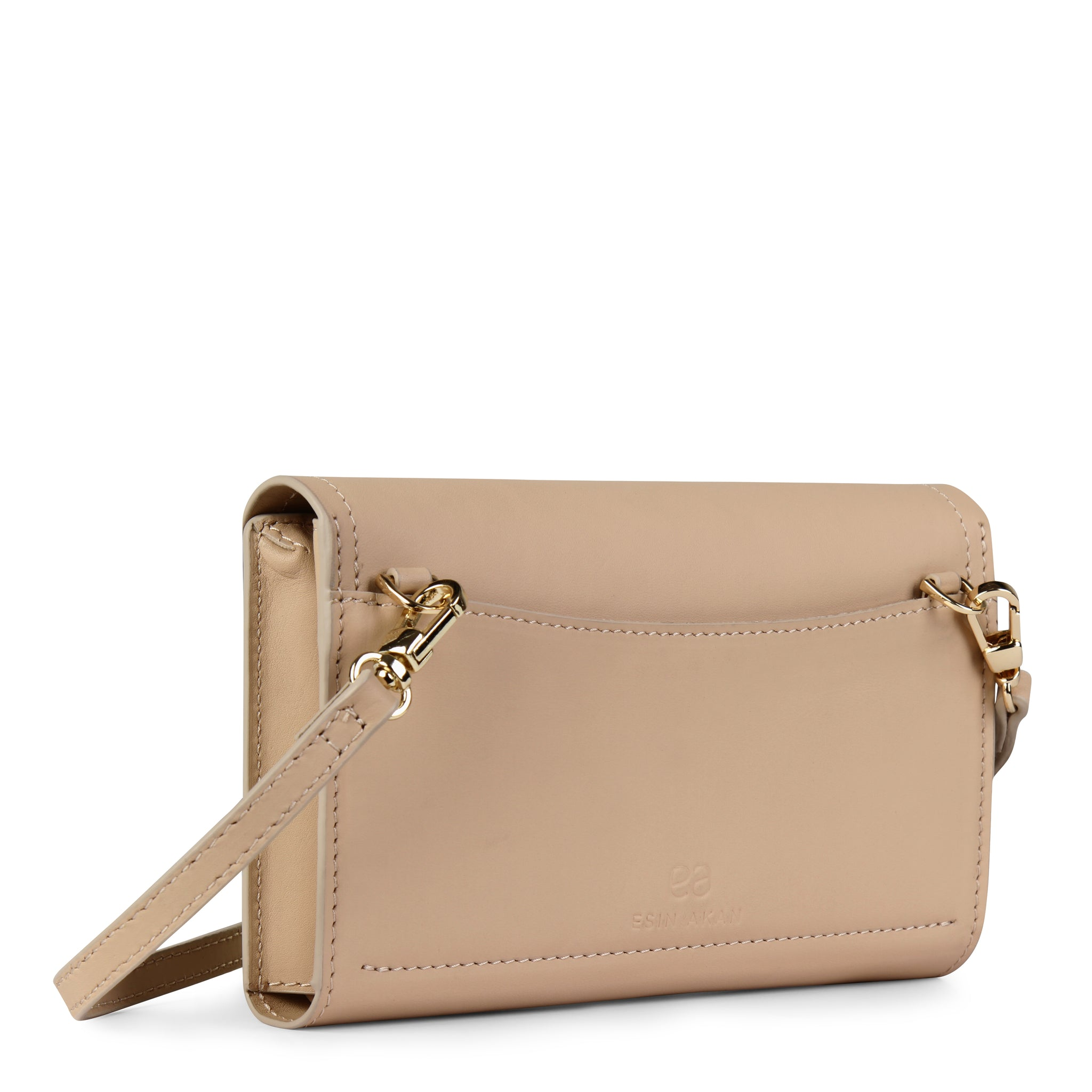 A convertible leather nude phone wallet with a knot detail in front that could be used as a crossbody bag, back image.