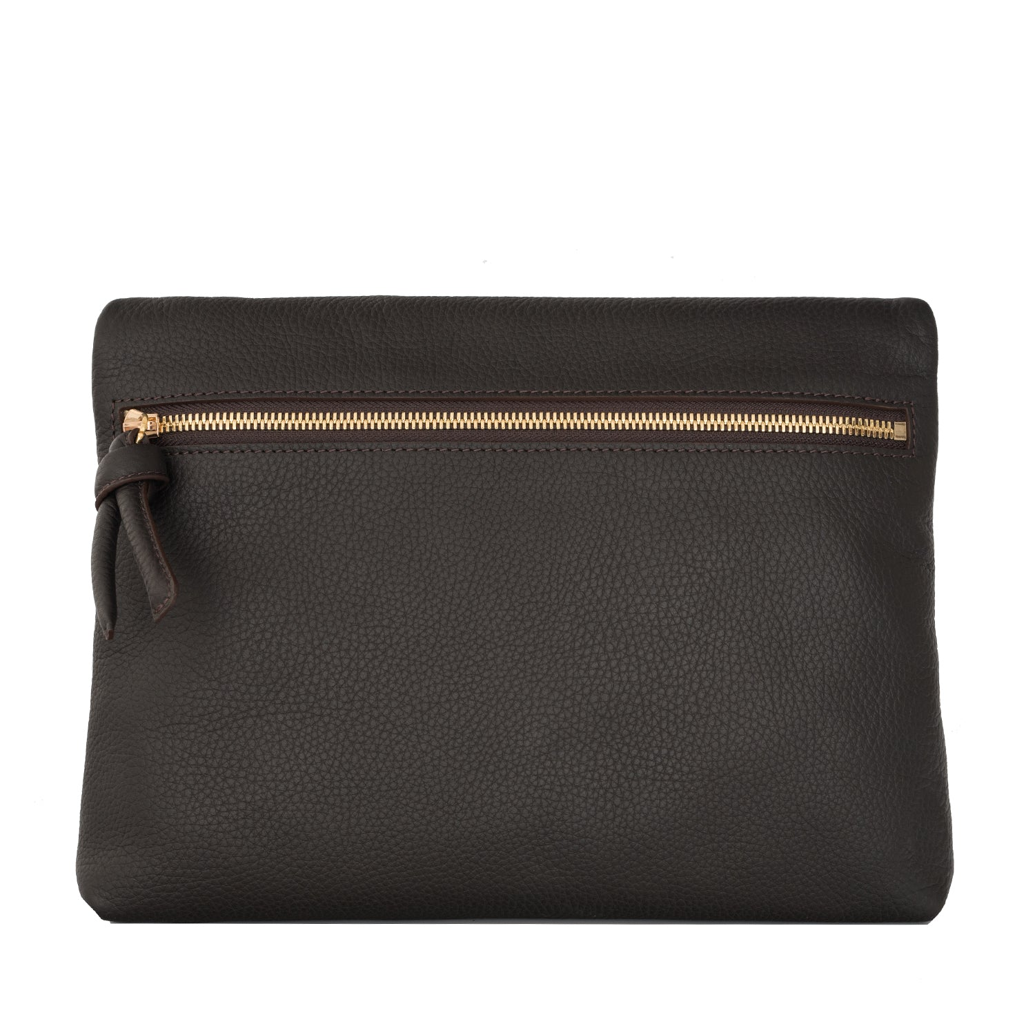 A brown convertible leather crossbody bag for women with a zipper that could be used as a clutch in the evening, back image.