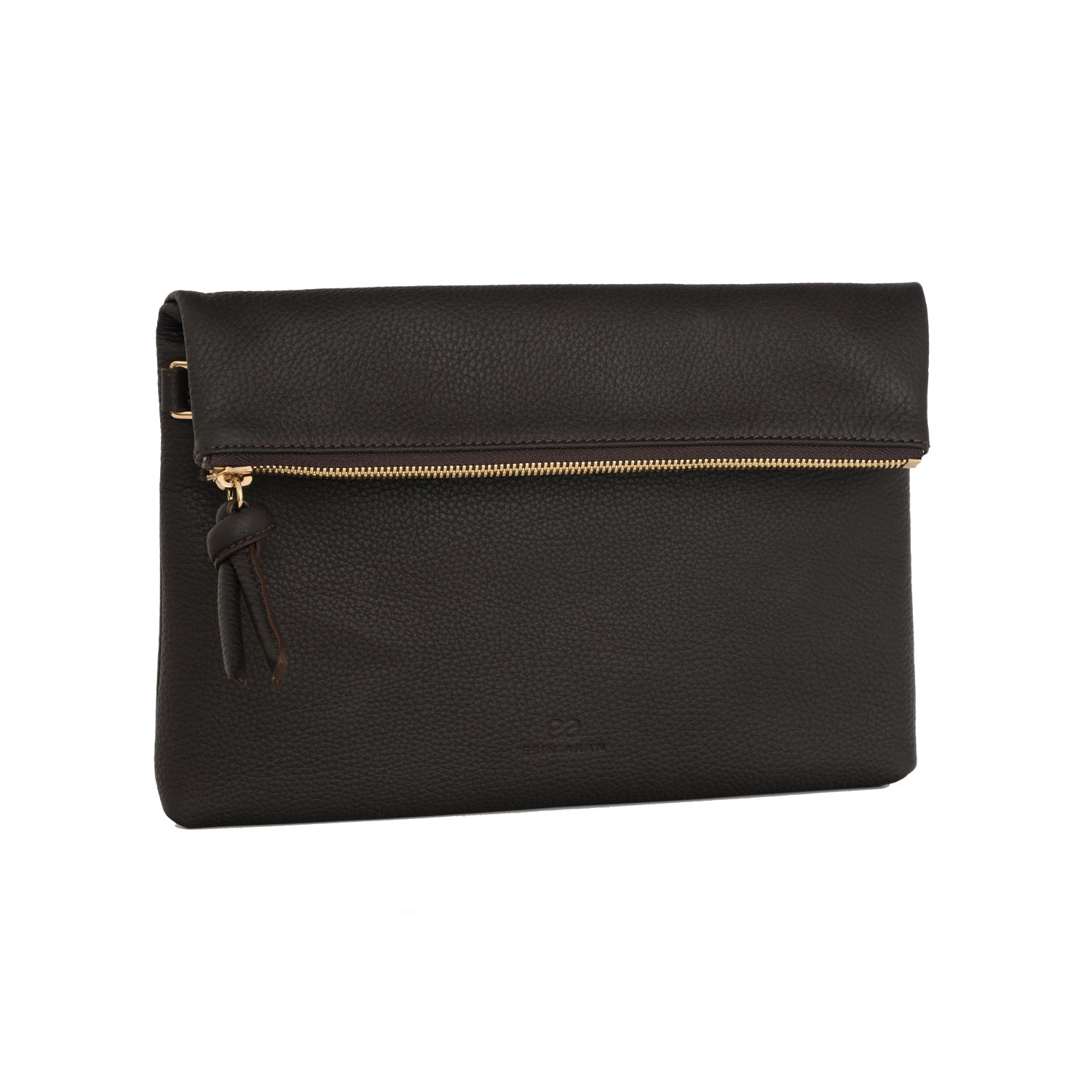 A brown convertible leather crossbody bag for women with a zipper that could be used as a clutch in the evening, side image.