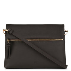 A brown convertible leather crossbody bag for women with a zipper that could be used as a clutch in the evening, front image.