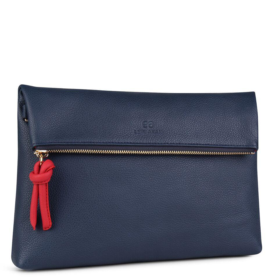 A navy and red convertible leather crossbody bag for women with a zipper that could be used as a clutch in the evening, side image.