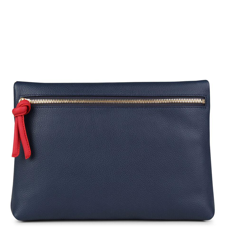 A navy and red convertible leather crossbody bag for women with a zipper that could be used as a clutch in the evening, back image.