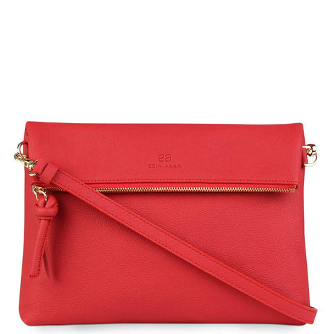 A red convertible leather crossbody bag for women with a zipper that could be used as a clutch in the evening, front image.