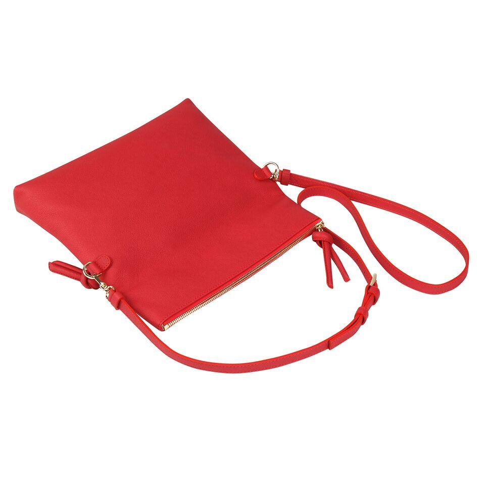 A red convertible leather crossbody bag for women with a zipper that could be used as a clutch in the evening.