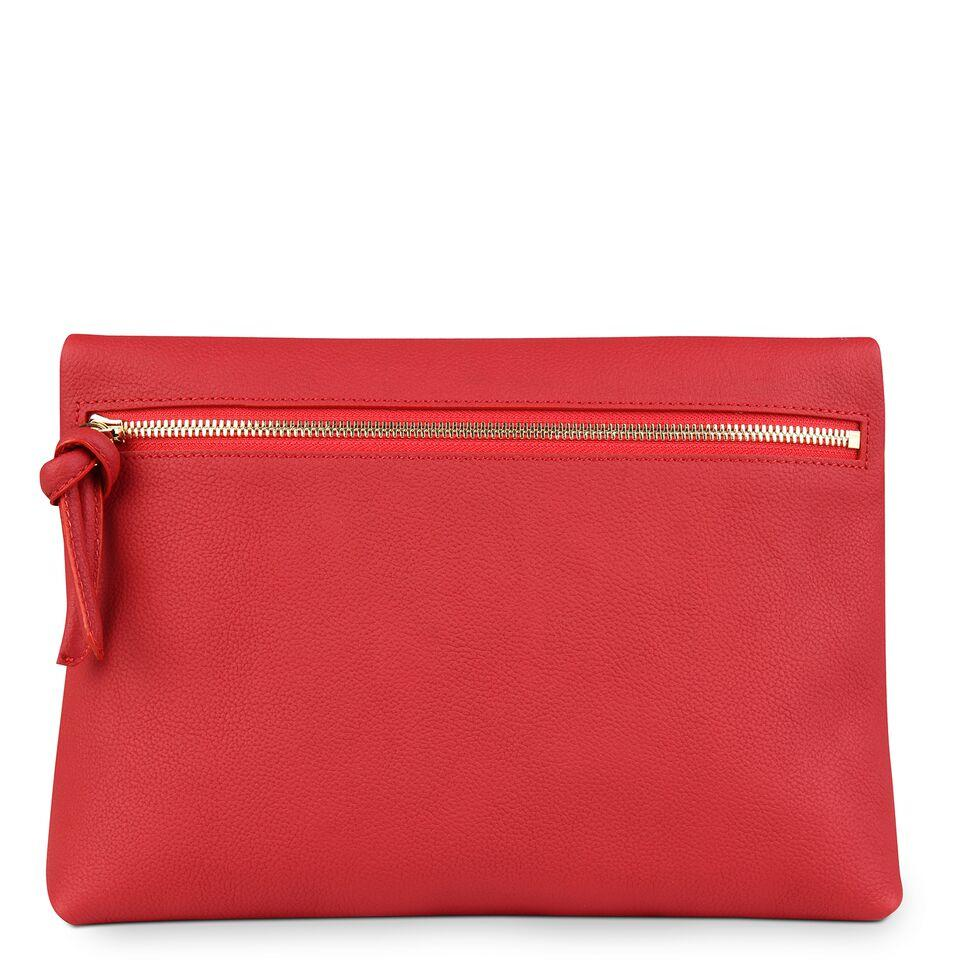 A red convertible leather crossbody bag for women with a zipper that could be used as a clutch in the evening, back image.