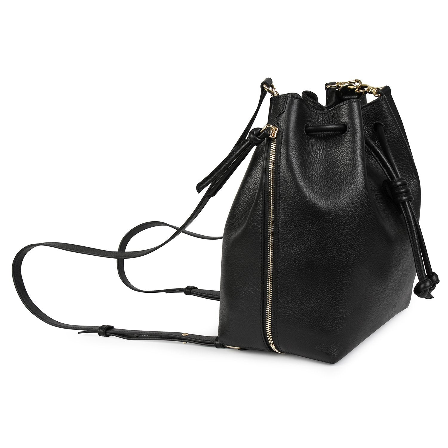A convertible laptop size womens black leather backpack that could be used as a crossbody as well as a bucket bag, zippers closed, side image.