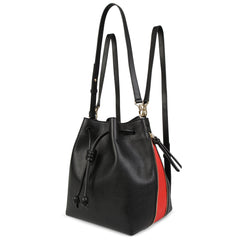 A convertible laptop size womens black leather backpack with red that could be used as a crossbody as well as a bucket bag, front image.