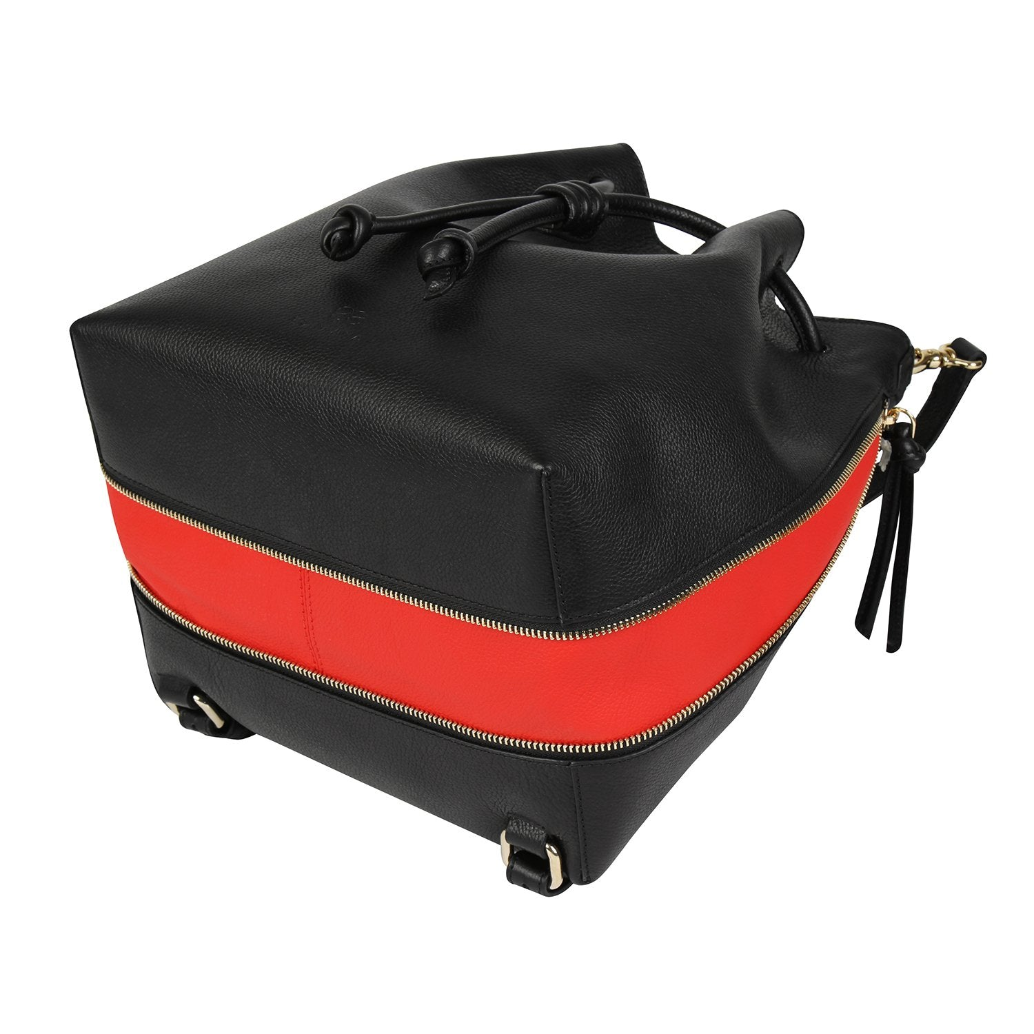 A convertible laptop size womens black leather backpack with red that could be used as a crossbody as well as a bucket bag, base image.