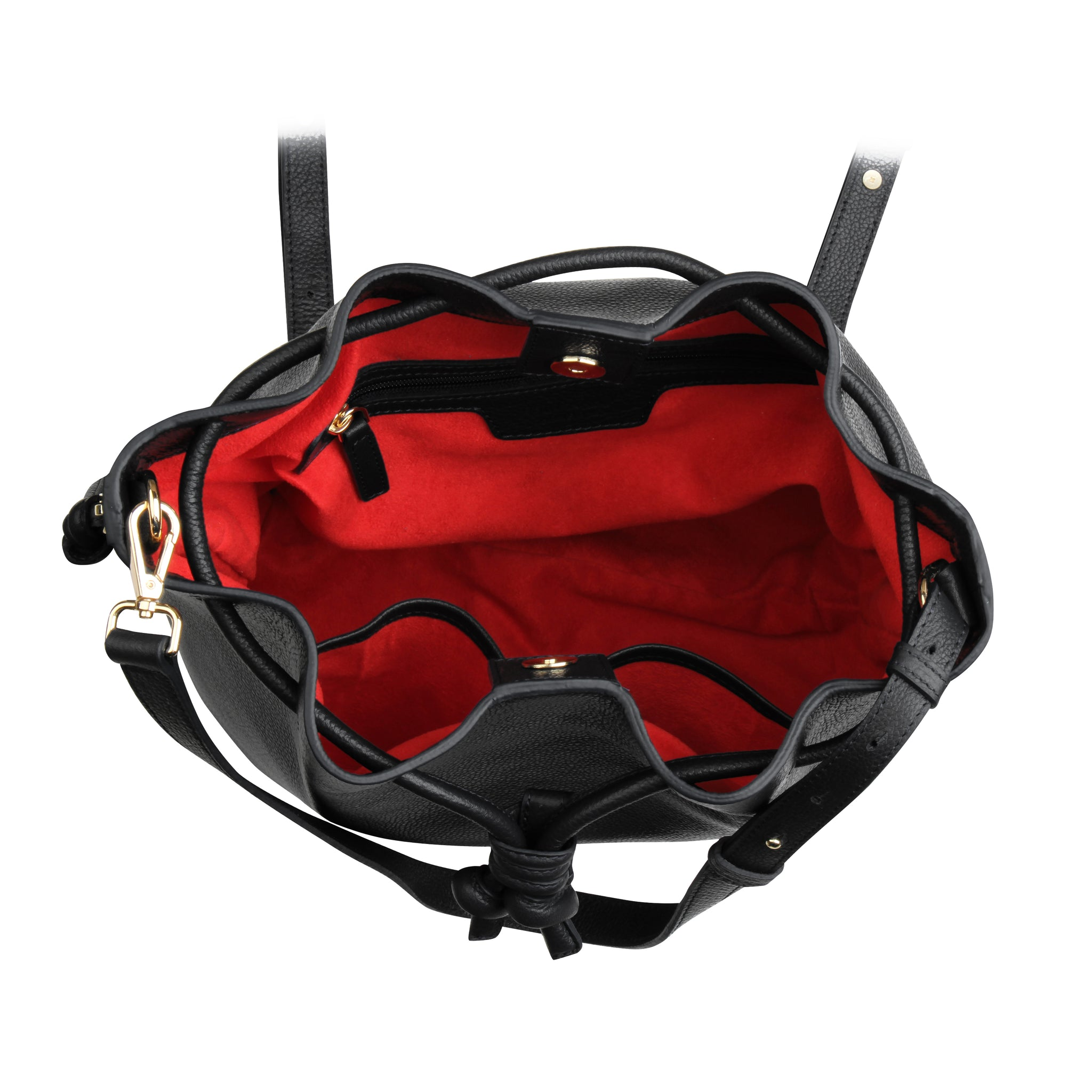 A convertible laptop size womens black leather backpack with red that could be used as a crossbody as well as a bucket bag, red interior image.