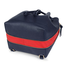 A convertible laptop size womens leather backpack in navy that could be used as a crossbody as well as a bucket bag, base image.