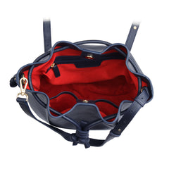 A convertible laptop size womens leather backpack in navy, red interior image.