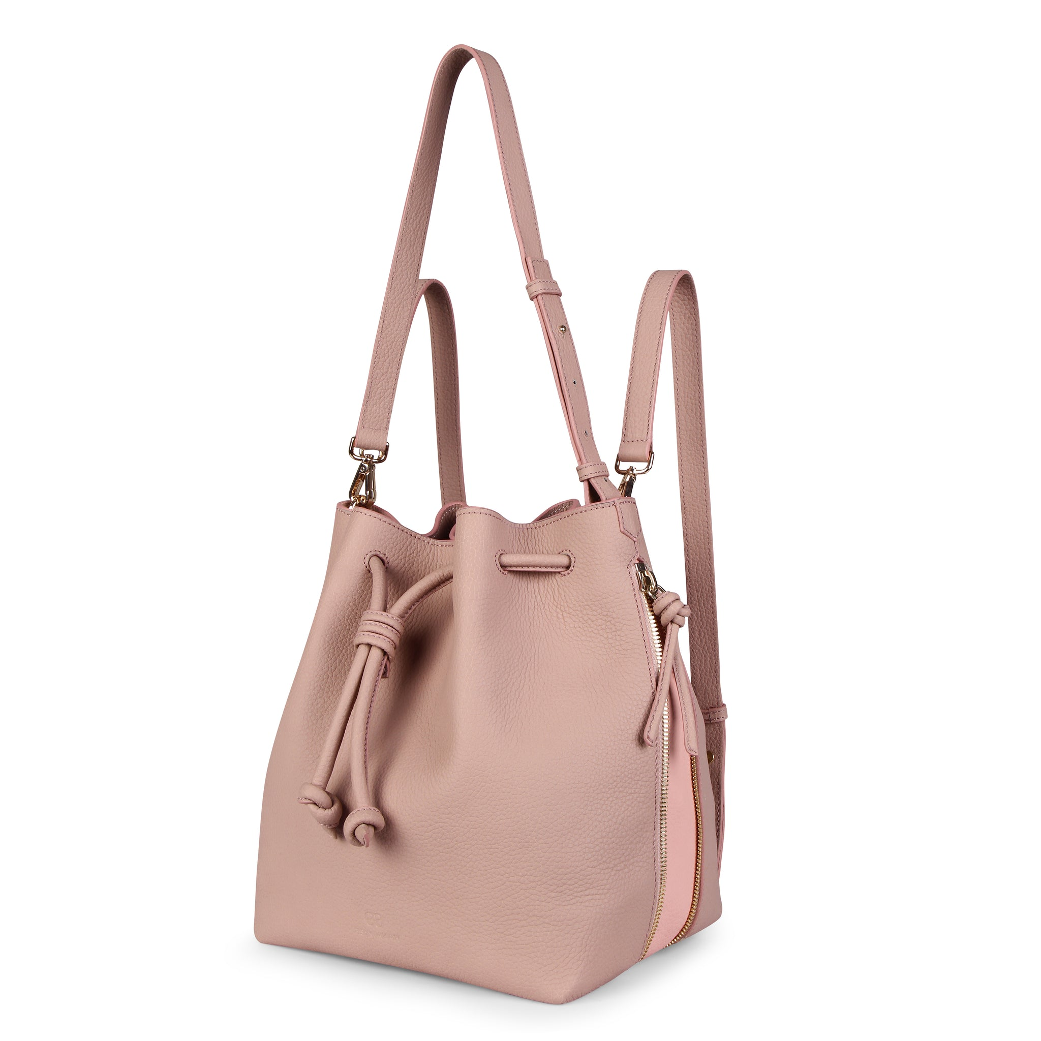 A convertible laptop size womens leather backpack in pink that could be used as a crossbody as well as a bucket bag, front image.