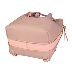 A convertible laptop size womens leather backpack in pink that could be used as a crossbody as well as a bucket bag, base image.
