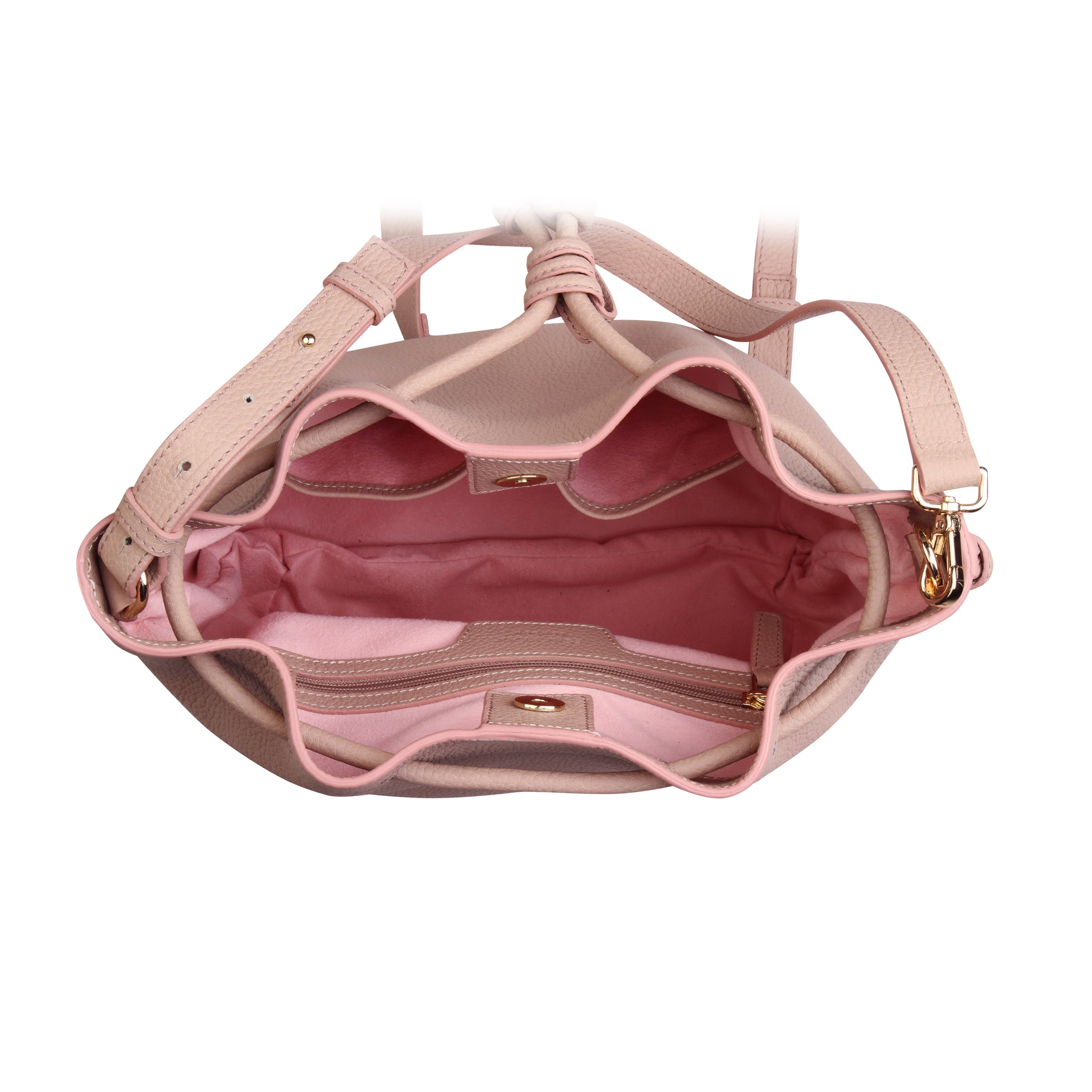 A convertible laptop size womens leather backpack in pink, interior image.