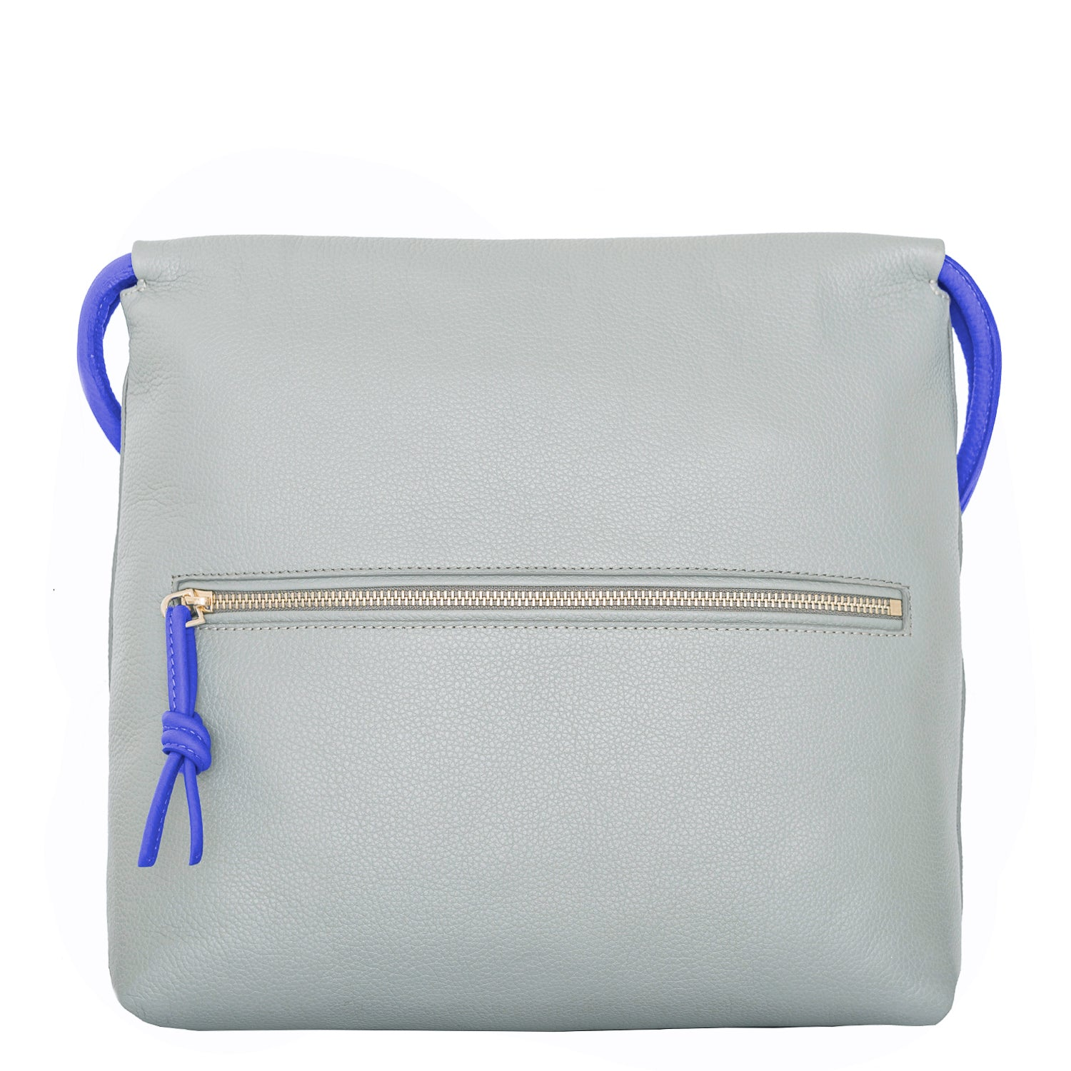 A convertible leather blue and grey shoulder bag for women with a knot detail on the strap that could be used as a clutch bag with its roll down feature, back image.