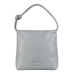 A convertible leather light grey shoulder bag for women with a knot detail on the strap that could be used as a clutch bag with its roll down feature, front image.
