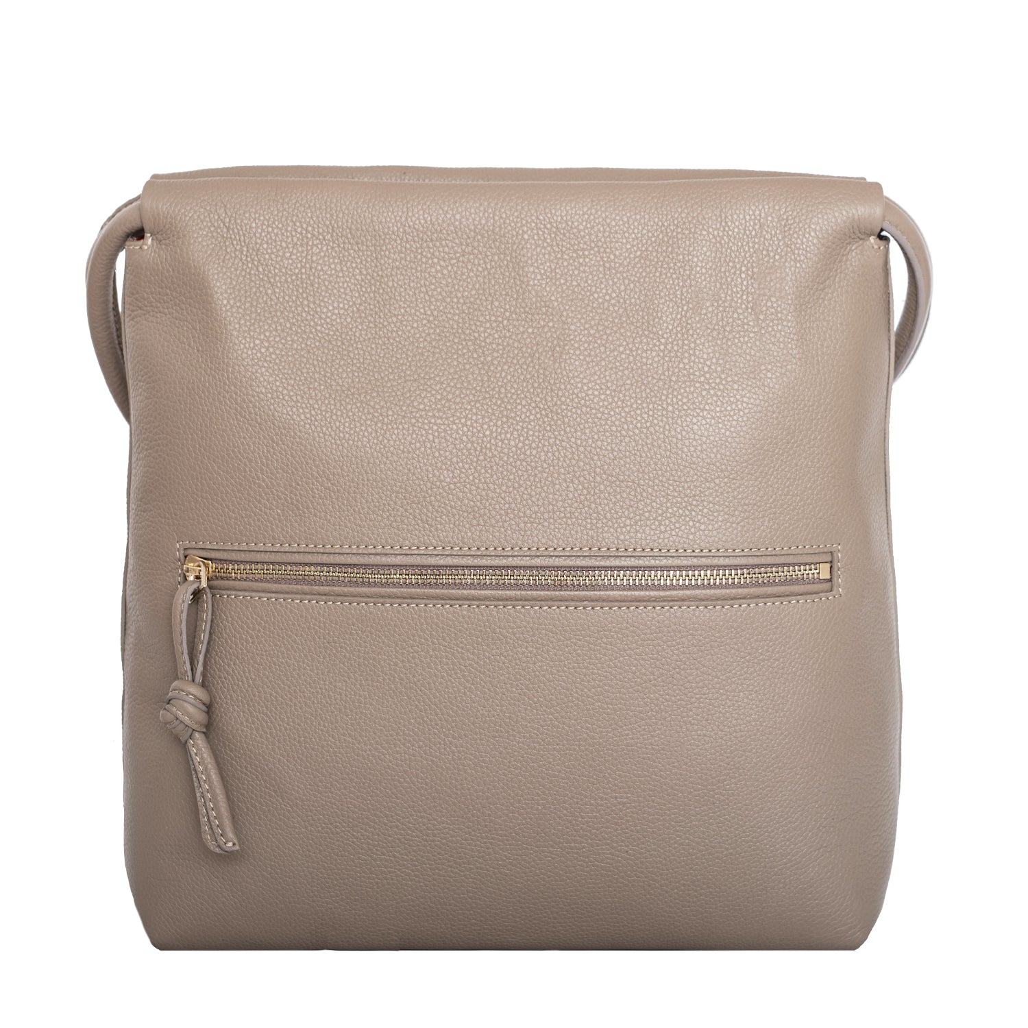 A convertible leather nude shoulder bag for women with a knot detail on the strap that could be used as a clutch bag with its roll down feature, back image.