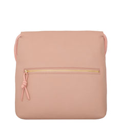 A convertible leather pink shoulder bag for women with a knot detail on the strap that could be used as a clutch bag with its roll down feature, back image.