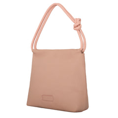 A convertible leather pink shoulder bag for women with a knot detail on the strap that could be used as a clutch bag with its roll down feature, side image.