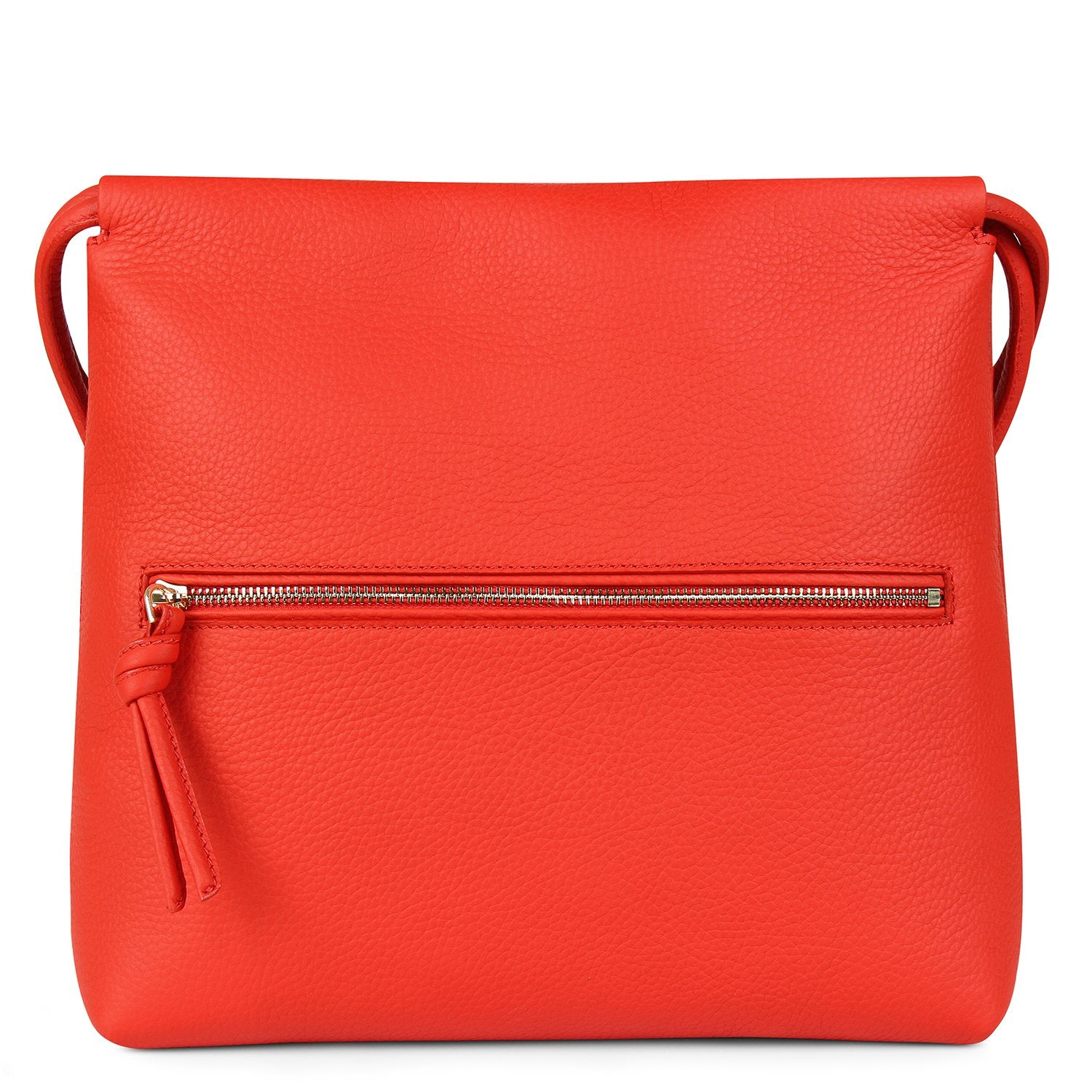 A convertible leather red shoulder bag for women with a knot detail on the strap that could be used as a clutch bag with its roll down feature, back image.
