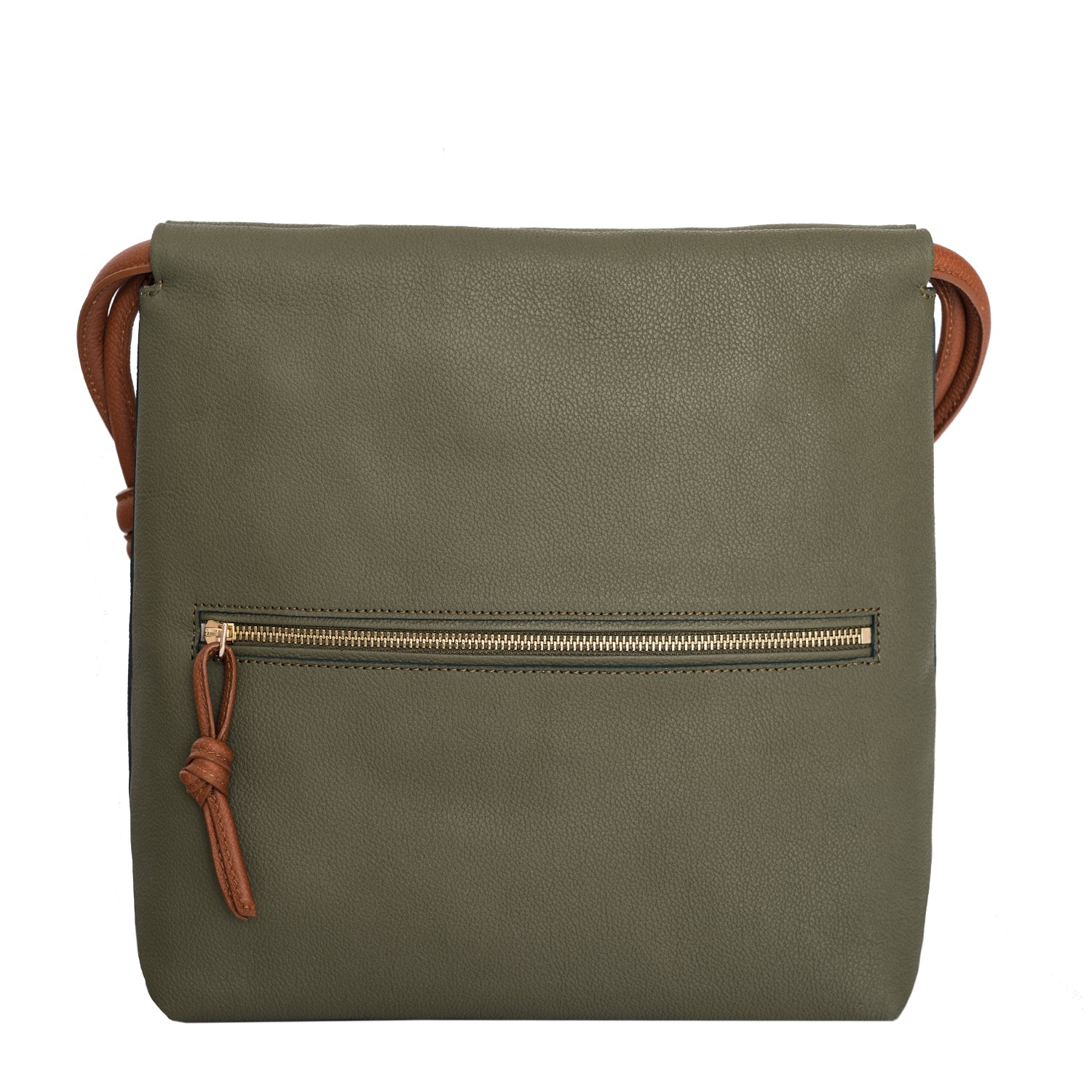A convertible leather green shoulder bag for women with a knot detail on the strap that could be used as a clutch bag with its roll down feature, back image.
