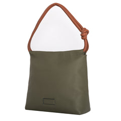 A convertible leather green shoulder bag for women with a knot detail on the strap that could be used as a clutch bag with its roll down feature, side image.